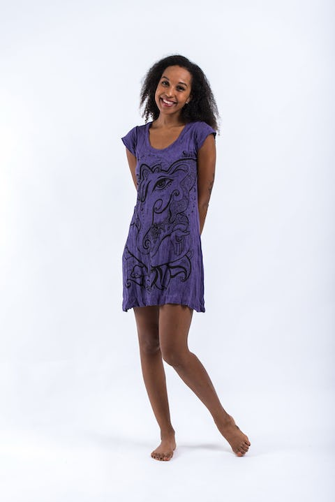 Sure Design Womens Cute Ganesha Dress Purple