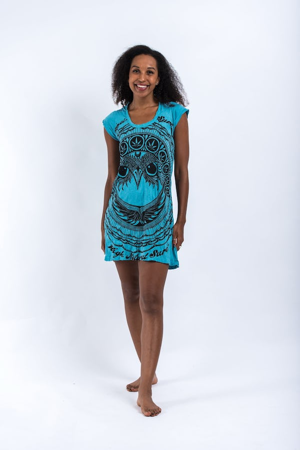 Sure Design Womens Dress Weed Owl Turquoise