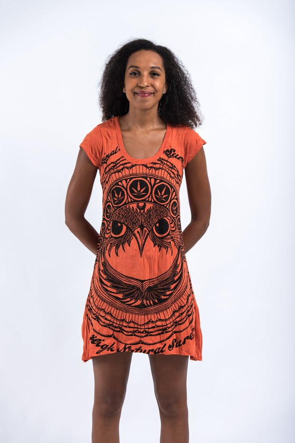 Sure Design Womens Dress Weed Owl Orange