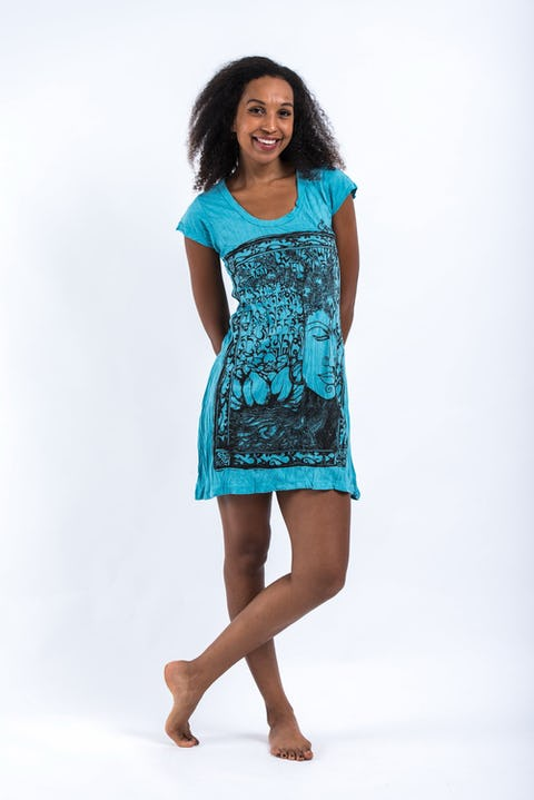 Womens Sanskrit Buddha Dress in Turquoise