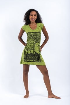 Womens Lotus Mandala T-Shirt in Lime