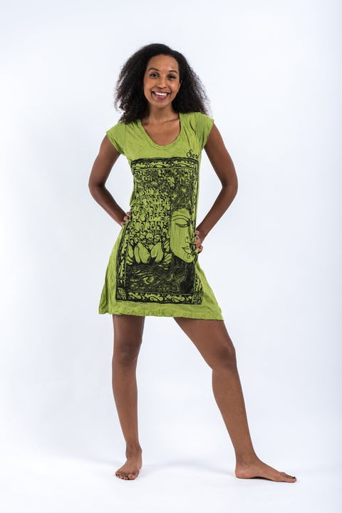 Womens Sanskrit Buddha Dress in Lime