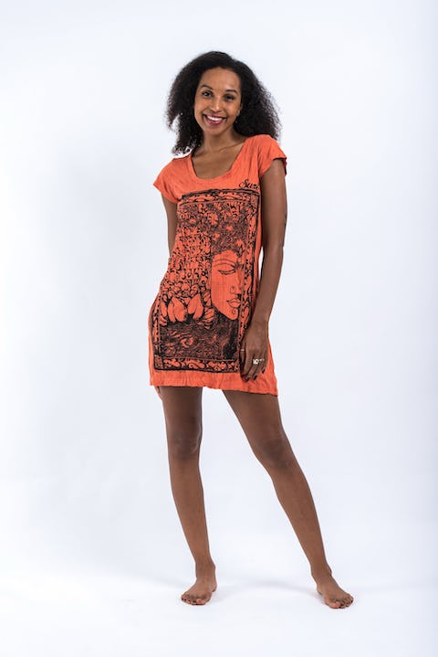Womens Sanskrit Buddha Dress in Orange