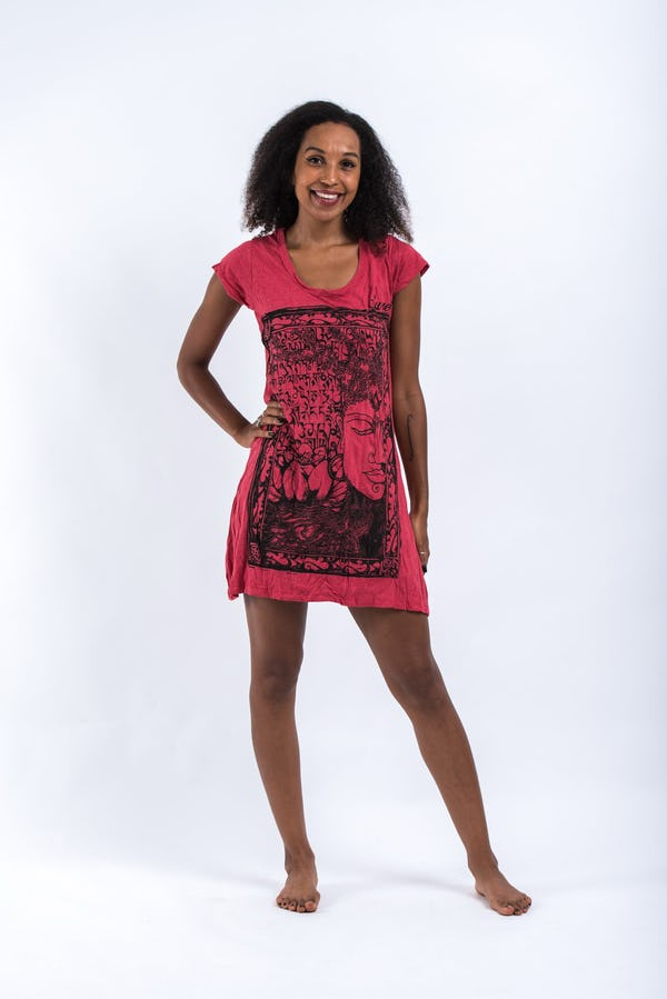 Womens Sanskrit Buddha Dress in Red