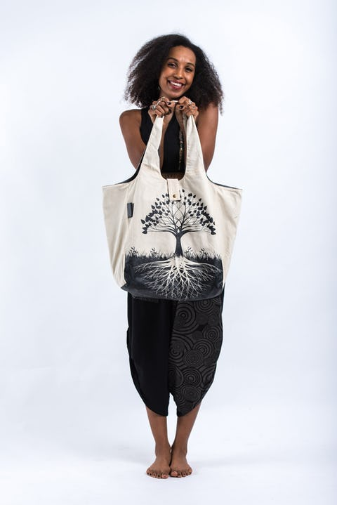 Tree of Life Reversible Cotton Tote Bag in Natural