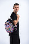 Trendy Thai Hill Tribe Embroidered Backpack in Purple