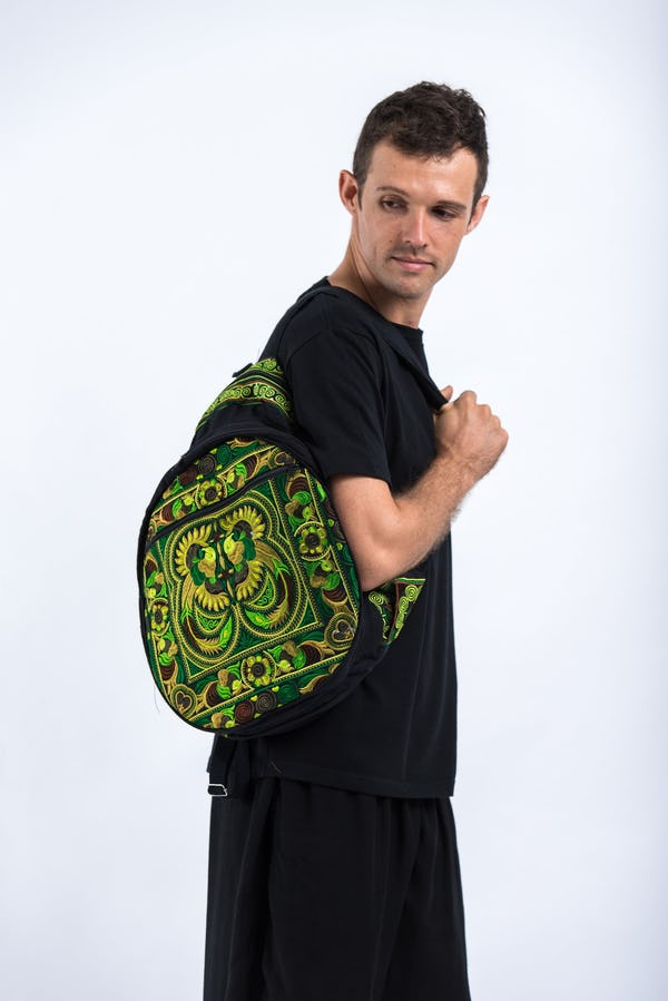 Trendy Thai Hill Tribe Embroidered Backpack in Green