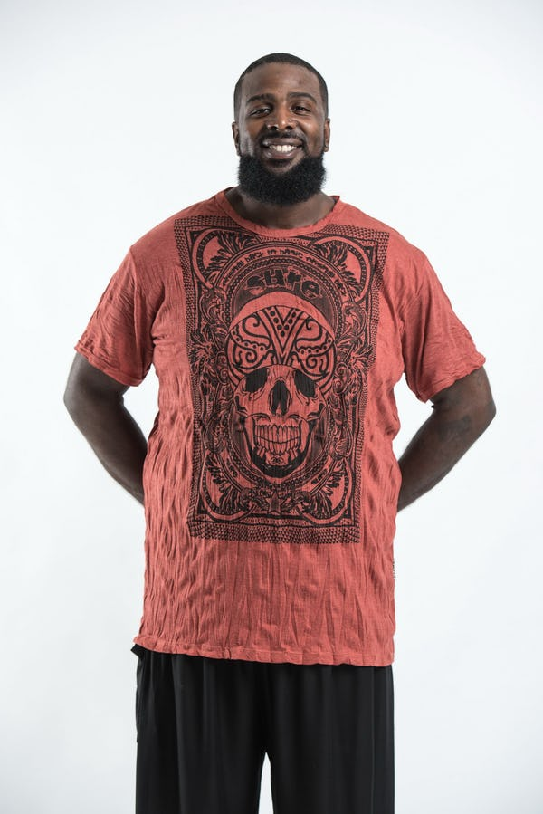Plus Size Men's Trippy Skull T-Shirts Brick