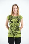 Sure Design Womens Big Face Ganesh T-Shirt Lime