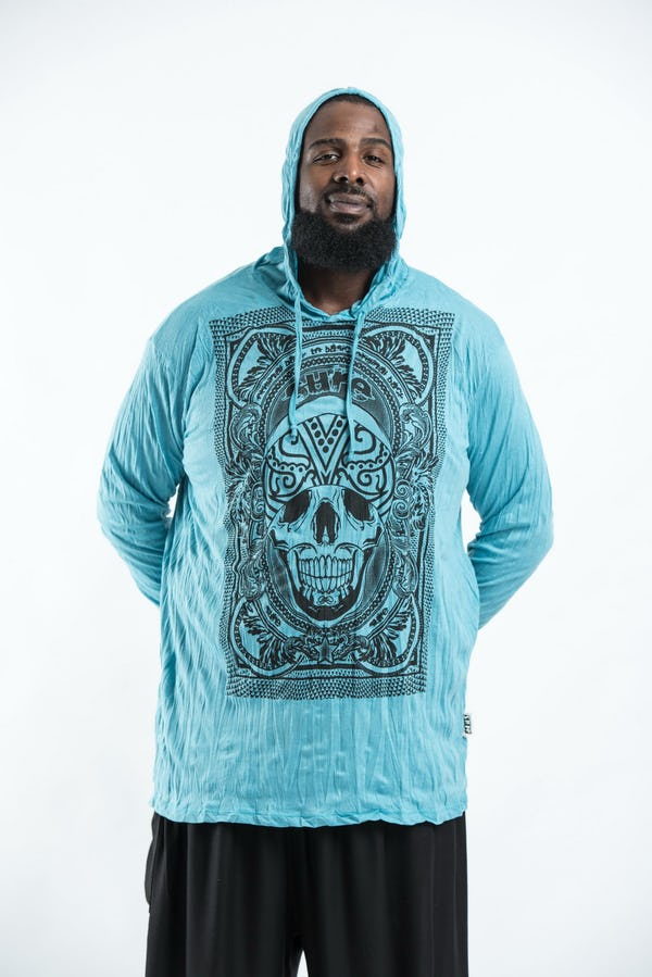 Plus Size Unisex Hoodie Trippy Skull Turquoise
