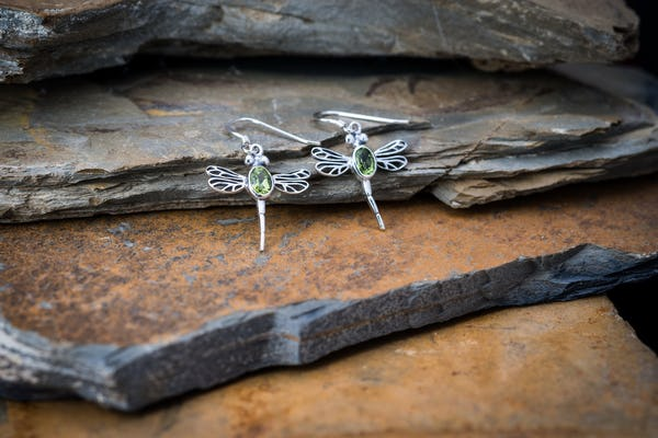 Sterling Silver Thai  Dangle Earrings Dragonfly With Peridot Stone