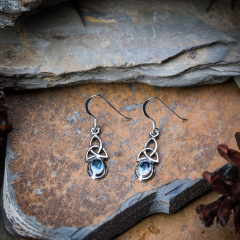 Sterling Silver Thai  Dangle Earrings Celtic Triangle With Blue Glass Stone