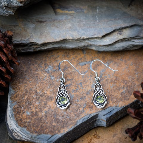 Sterling Silver Thai  Earrings Celtic Fancy Peridot