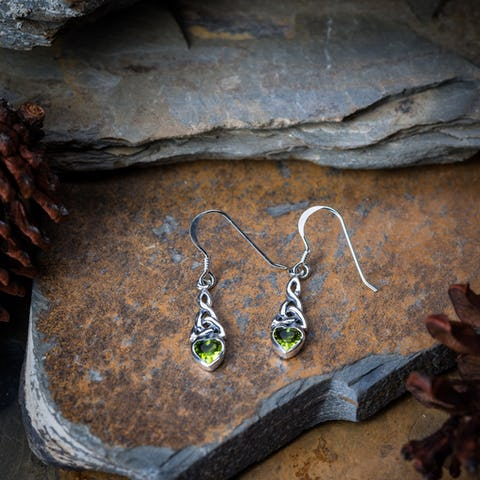 Sterling Silver Thai  Earrings Celtic Peridot
