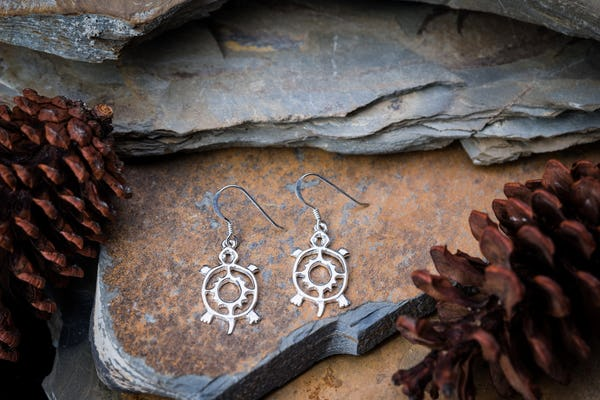 Sterling Silver Thai  Earrings Classic Turtle