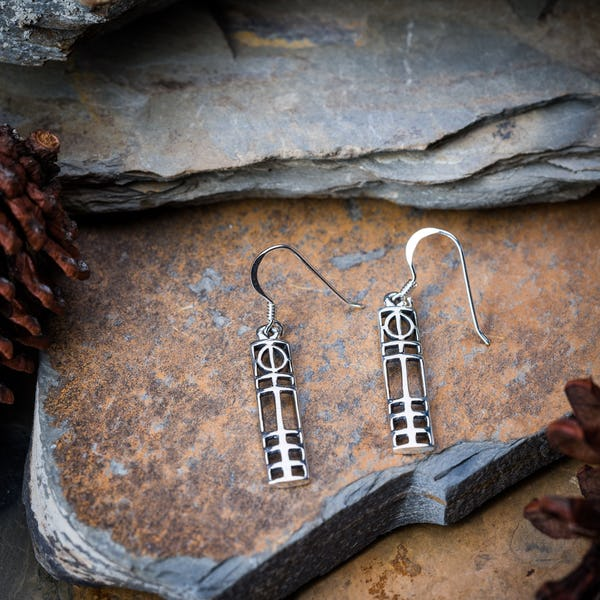 Sterling Silver Thai  Earrings Celtic Long Cubism