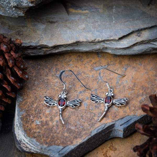 Sterling Silver Thai  Dangle Earrings Dragonfly With Garnet Stone