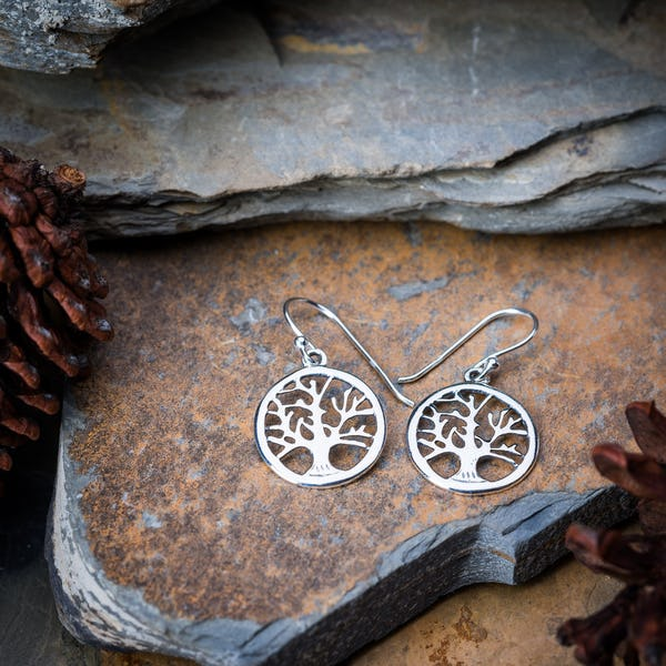 Sterling Silver Thai  Earrings Tree Of Life Circle