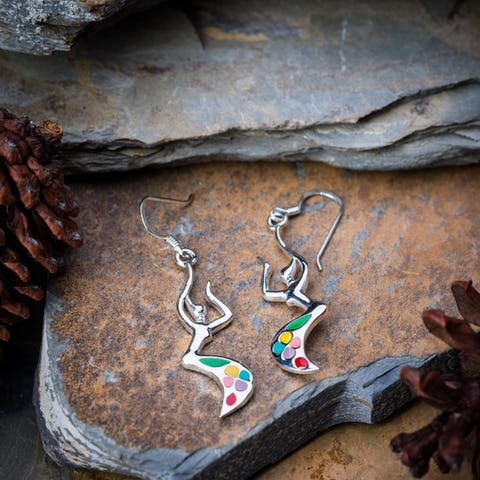 Sterling Silver Thai  Earrings Rainbow Dancer