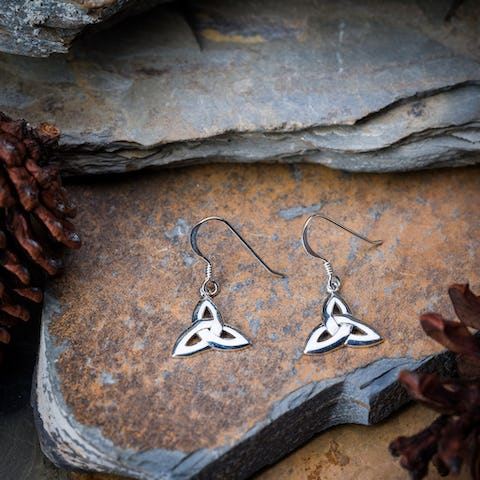 Sterling Silver Thai  Earrings Celtic Triangle
