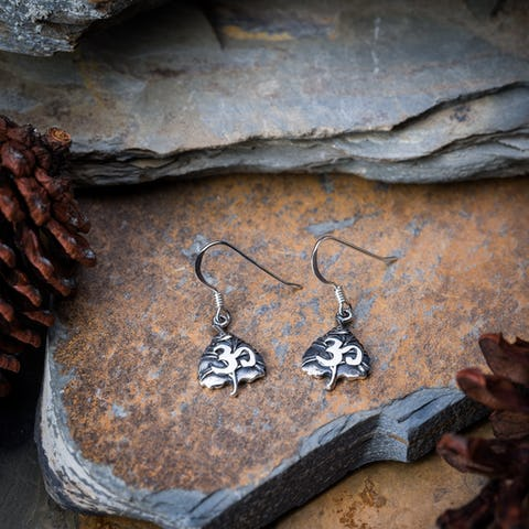 Sterling Silver Thai  Earrings Bodhi Om