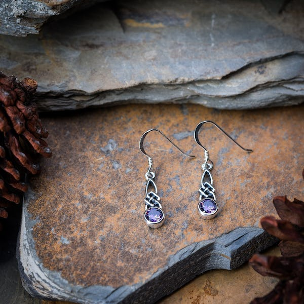 Sterling Silver Thai Earrings Celtic Amethyst