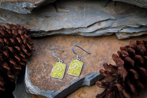 Sterling Silver Thai Earrings Yellow Enamel Swirl
