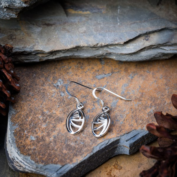 Sterling Silver Thai  Earrings Circle Swirl