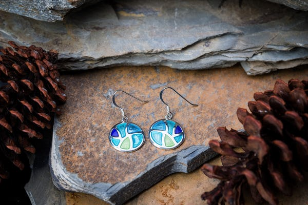 Sterling Silver Thai  Earrings  Rainbow Round Enamel