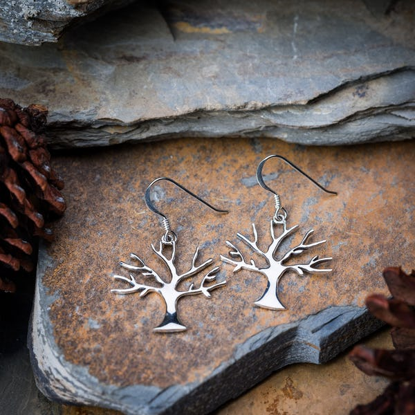 Sterling Silver Thai  Earrings Modern Tree Of Life