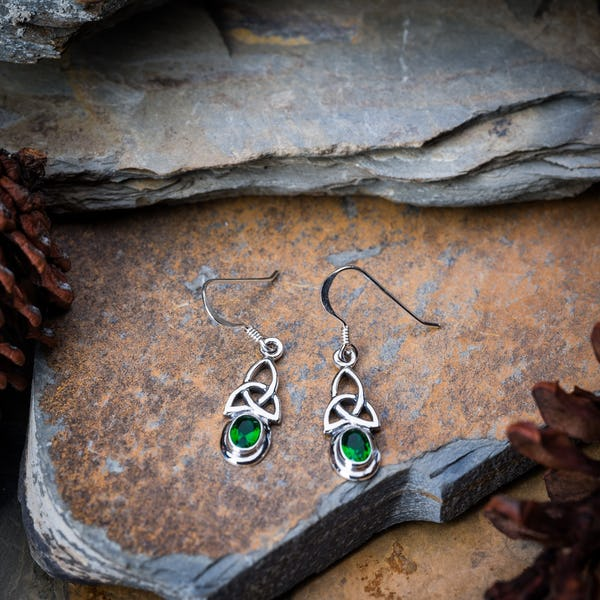 Trinity Sterling Silver Earrings with Emerald
