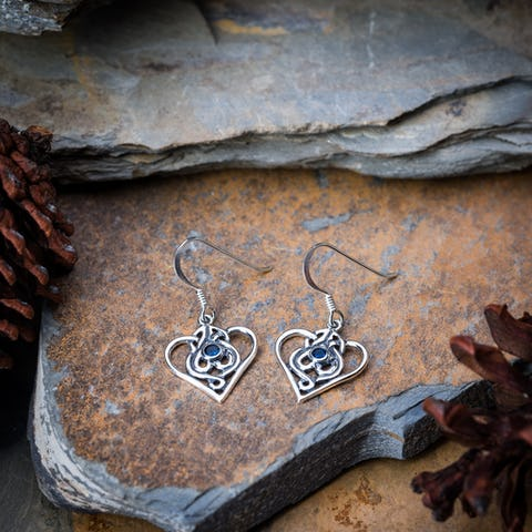 Celtic Heart Sterling Silver Earrings with Sapphire CZ