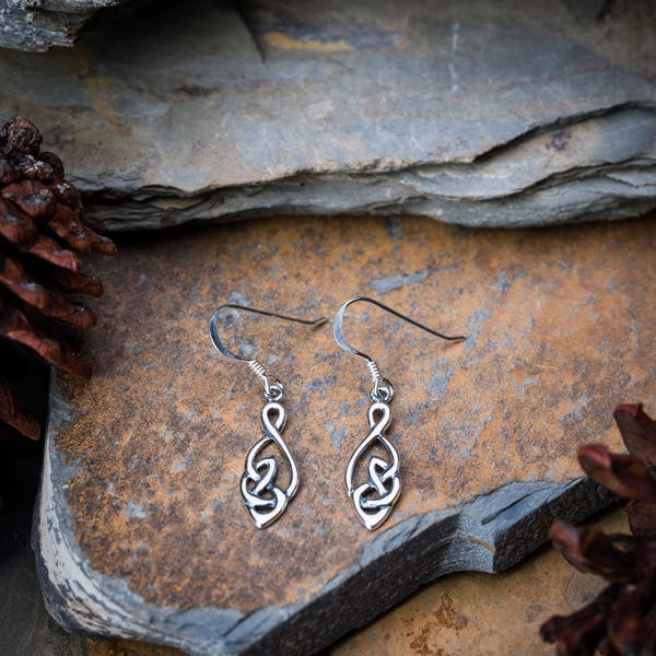 Sterling Silver Thai  Dangle Earrings Celtic Round Drop