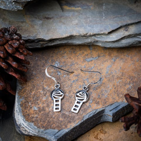Sterling Silver Thai  Earrings Celtic Knot Cube