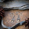 Sterling Silver Thai  Dangle Earrings Celtic Triangle With Citrine Glass Stone