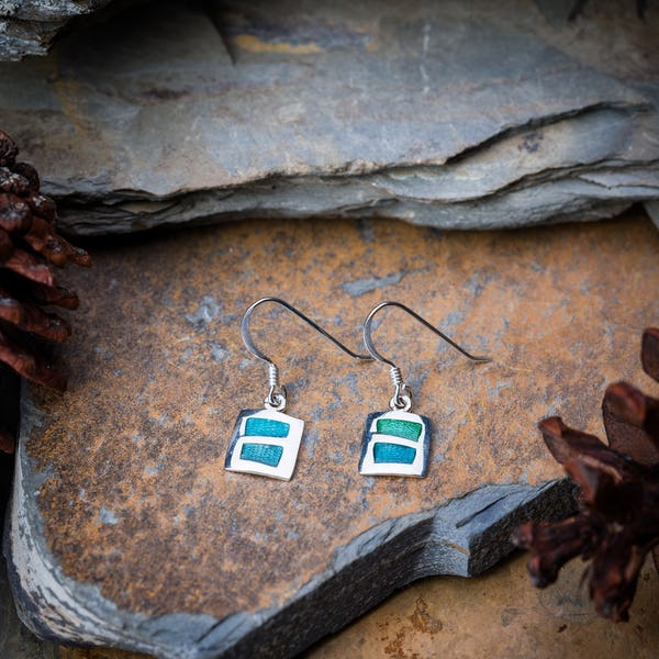 Sterling Silver Thai  Earrings  Blue Square Enamel