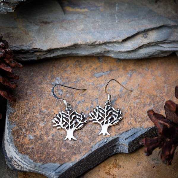 Sterling Silver Thai Earrings Classic Tree Of Life
