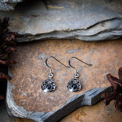 Sterling Silver Earrings Black Heart