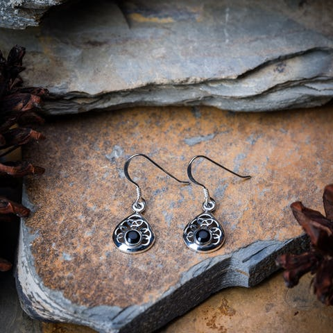 Sterling Silver Thai  Dangle Earrings Celtic Heart With Stone