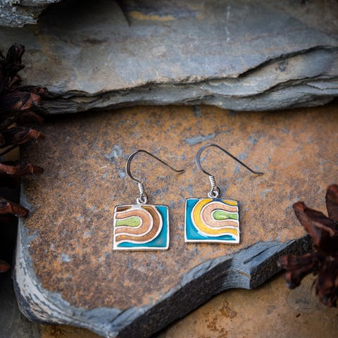 Sterling Silver Thai  Dangle Earrings Abstract Coral