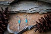 Sterling Silver Thai  Dangle Earrings Turquoise Feathers