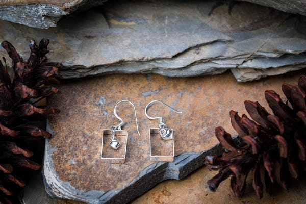 Sterling Silver Thai  Earrings Heart Box