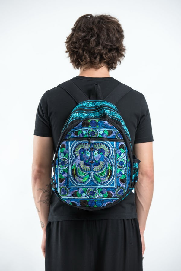 Trendy Thai Hill Tribe Embroidered Backpack in Blue