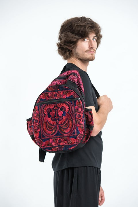 Trendy Thai Hill Tribe Embroidered Backpack in Pink