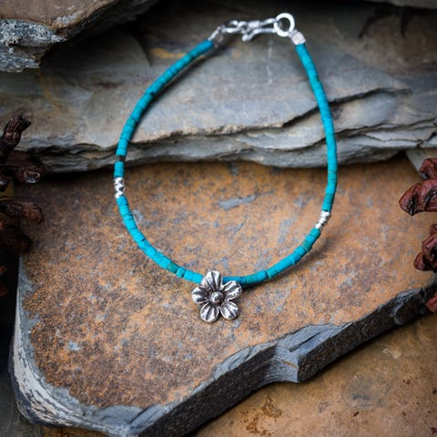 Hill Tribe Hand Made Turquoise and Silver Bead Bracelets with Flower Charm