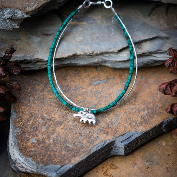Hill Tribe Hand Made Malachite and Silver Bracelets with Elephant Charm