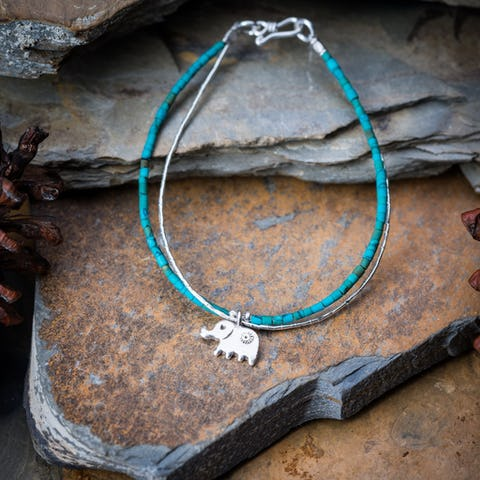Hill Tribe Hand Made Turquoise and Silver Bracelets with Elephant Charm