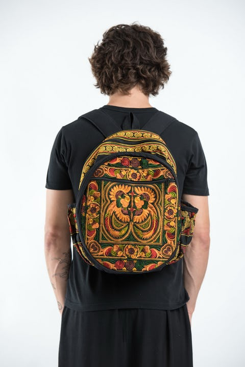 Trendy Thai Hill Tribe Embroidered Backpack in Orange