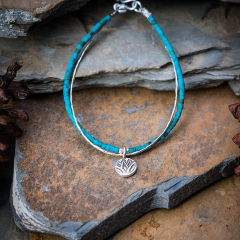 Hill Tribe Hand Made Turquoise and Silver Bracelets with Lotus Charm