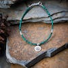 Hill Tribe Hand Made Malachite and Silver Bead Bracelets with YinYang Charm